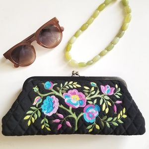 Boho Floral Embroidered Black Quilted Purse Clutch
